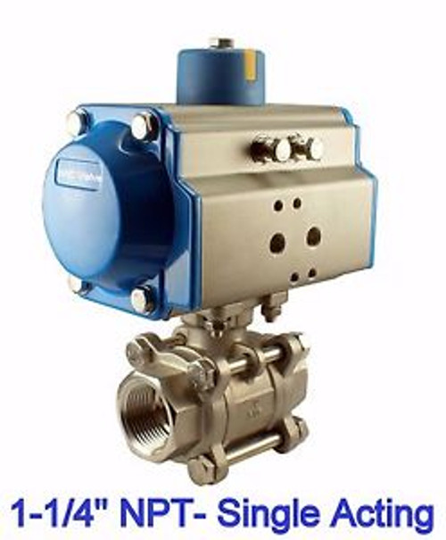 1-1/4 Pneumatic Single Acting Spring Return Air Actuated Stainless Ball Valve