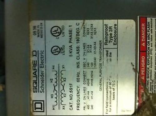 Square D Schneider Electric  5 kVA 5S1F 1 Phase Transformer 5kVA