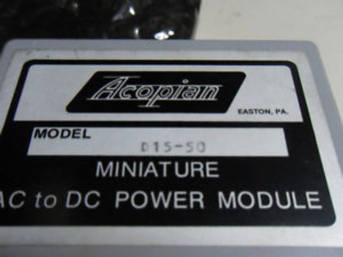 (L25) 1 NEW ACOPIAN D15-50 MINIATURE AC TO DC POWER MODULE
