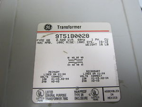 9T51B0028 QTY 1 GE TRANSFORMER NEW 0.500 KVA 60HZ 1 PH CU 40C AMB