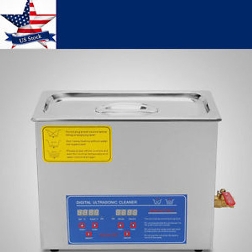 6L Digital Cleaning Machine Ultrasonic Cleaner Bath Tank w/ Timer Heated Machine