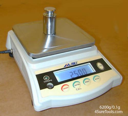 6200g x 0.1g 4Sure GX6200 Pro Laboratory Industrial Jewlery Scale 120V + Battery