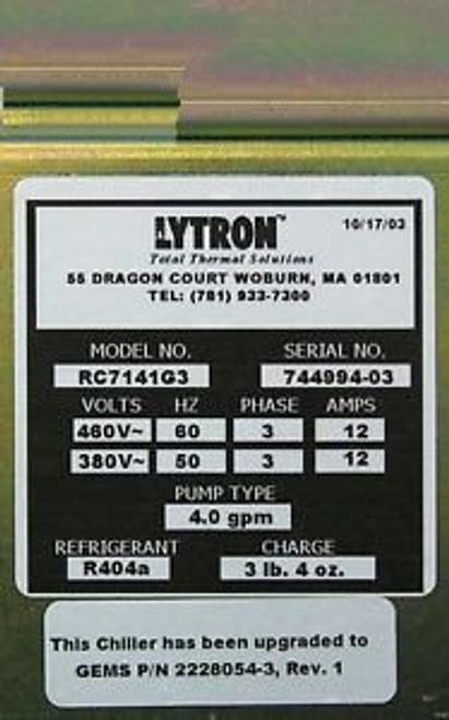 GE Coolix 4000 Chiller RC7141G3 10/17/2003 Lytron