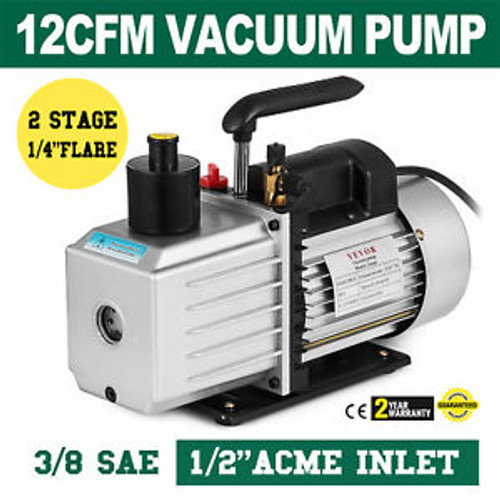 8Cfm Two-Stage Rotary Vane Vacuum Pump 1/2Acme Inlet Heavy-Duty 500Ml Capacity