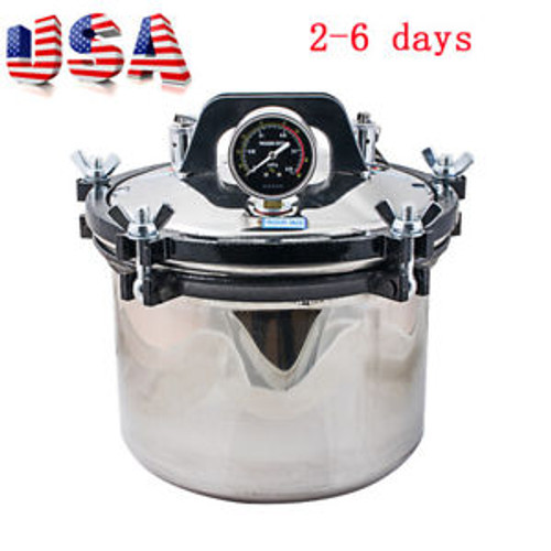 110V 8L Portable Steam Autoclave Sterilizer Dental Equipment Dual Heating