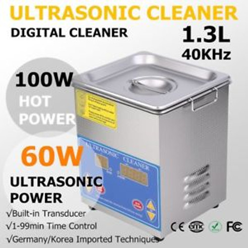 1.3L ULTRASONIC CLEANER CLEANING BRUSHED TANK HOME LED DISPLAY PRO CE APPROVED M