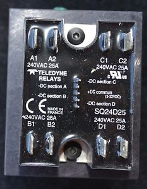 1 QUAD Teledyne SSR Relay SQ24D25 240VAC 25A with din mount Heat Sink