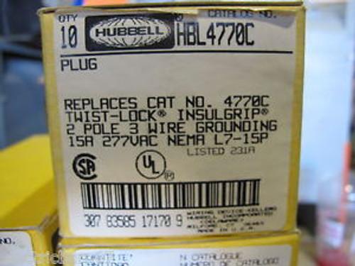 (10) Hubbell HBL4770C 15 Amp 277 Volt L7-15P Plug New