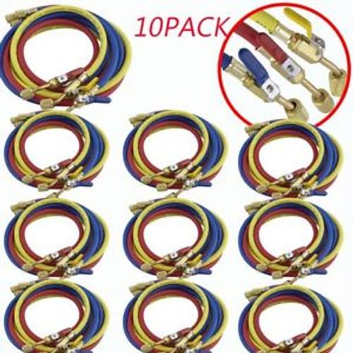 10PACK 60 HVAC 1/4 SAE 600 PSI Charging Hose w/Shut Refrigerant R410a R134a M2