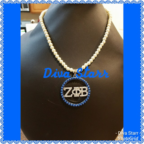 Zeta Blue & White Pearl Necklace