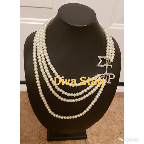 Sigma 3 Letter Pearl Necklace