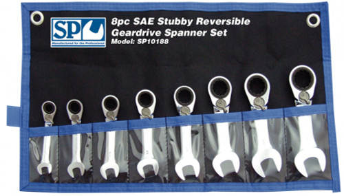 SP Tools 8pc SP10188 Stubby AF Reversible Geardrive Spanner Set.