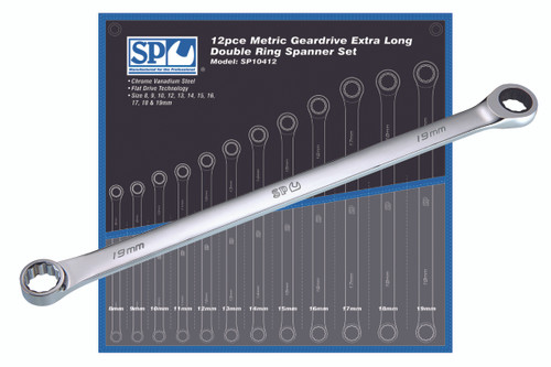 SP Tools 12pc Metric Extra Long Double Ring Geardrive Spanner Set SP10412