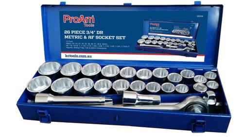 "KC ProAm Socket Set 26 Piece Metric 3/4"" Square Drive"