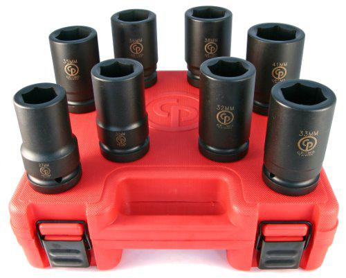 "Chicago Pneumatic 1"" Drive 8 Piece Metric Deep Impact Socket Set SS818D"
