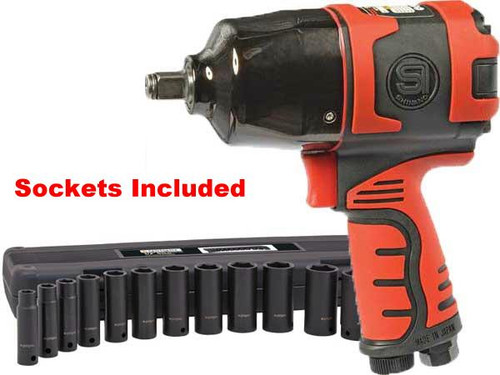"SHINANO 627Ft Lb 1/2"" IMPACT WRENCH KIT METRIC SI1490KM"