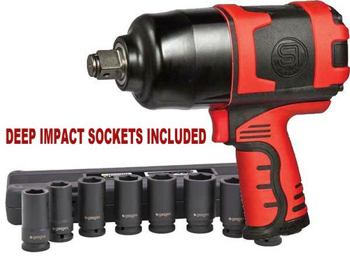 "SHINANO 900Ft Lb 3/4"" IMPACT WRENCH WITH METRIC SOCKETS SI1550KM"