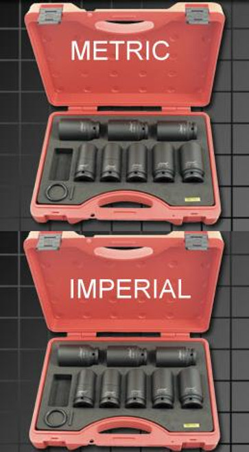 "Kc Impacta Metric & AF 3/4"" Dve Deep Drive Impact Socket Duo Set."