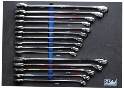 SP TOOLS 15PCE AF & METRIC SPANNER SET IN FOAM TRAY SP50016