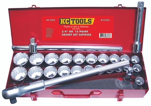 "KC TOOLS A13362 26 PCE 3/4"" DVE SOCKET WRENCH SET AF & METRIC"