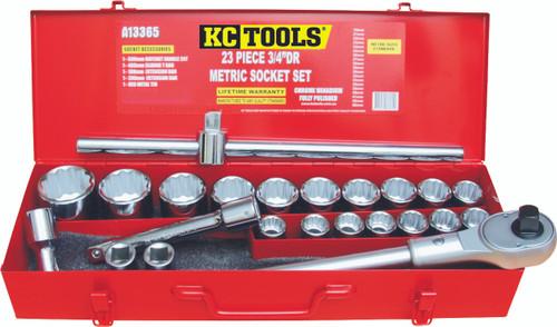"KC TOOLS A13365 23 PIECE 3/4"" DRIVE METRIC SOCKET SET"