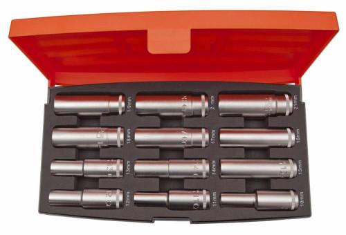 """S1612L Bahco 12 piece 1/2"""" Drive Deep HEX Socket Set."""