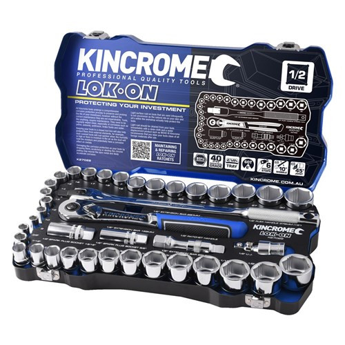 "Kincrome LOK ON® Socket Set 41 Piece 1/2"" Drive Metric & AF"