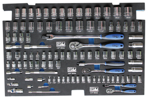 SP Tools 103pc Metric/SAE Sockets & Accessories In Foam Tray