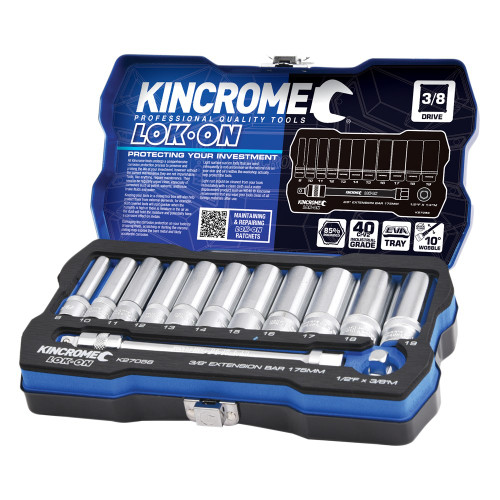 "KINCROME LOK ON™ SOCKET & EXTENSION SET 13 PCE 3/8"" DRIVE"