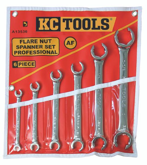 A13536 KC Tools 6 PIECE FLARE NUT SPANNER SET AF.