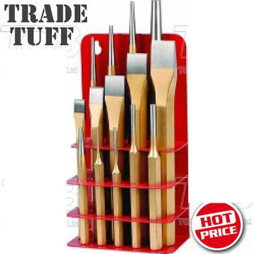 Tradequip 14 Pce Punch & Chisel Set With Bonus Metal Stand