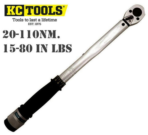 "H49 KC TOOLS PRO TENSION (TORQUE) WRENCH  3/8"" DRIVE 15-80 ft lbs 20-110Nm."