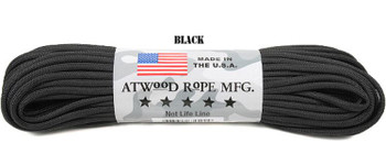 Atwood Rope Paracord | 550lb | 100ft | COLORS | PATTERNS | BLACK