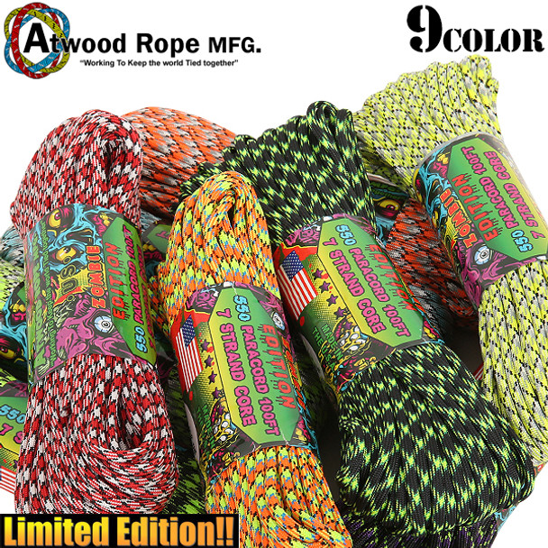 Atwood Rope Paracord | 550lb | 100ft | Zombie Edition
