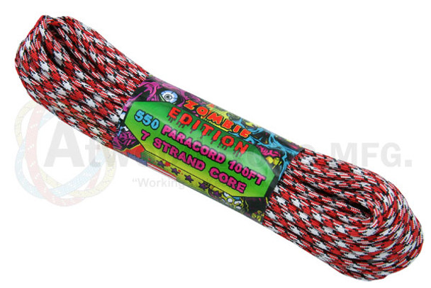 Atwood Rope Paracord | 550lb | 100ft | Zombie Edition | Bite