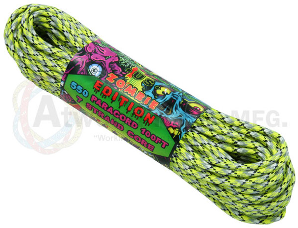 Atwood Rope Paracord | 550lb | 100ft | Zombie Edition | Infection