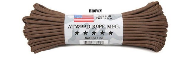 Atwood Rope Paracord | 550lb | 100ft | COLORS | PATTERNS | BROWN