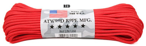 Atwood Rope Paracord | 550lb | 100ft | COLORS | PATTERNS | RED
