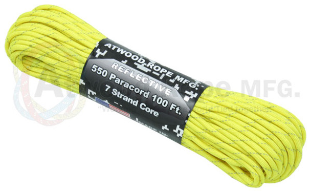 Atwood Rope Paracord | 550lb | 100ft | REFLECTIVE | **** NEON YELLOW