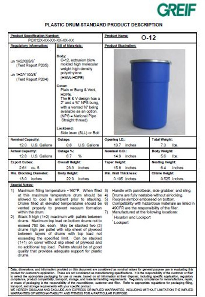 GREIF O-12 Gallon Open Head Poly Drum specifications Pdf