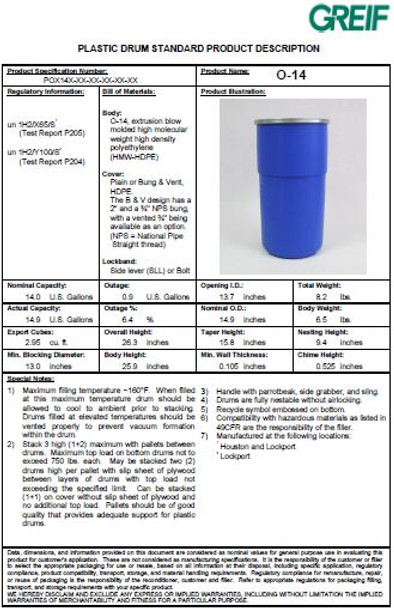 Greif O-14 Gallon Open Head Poly Drum Specifications pdf