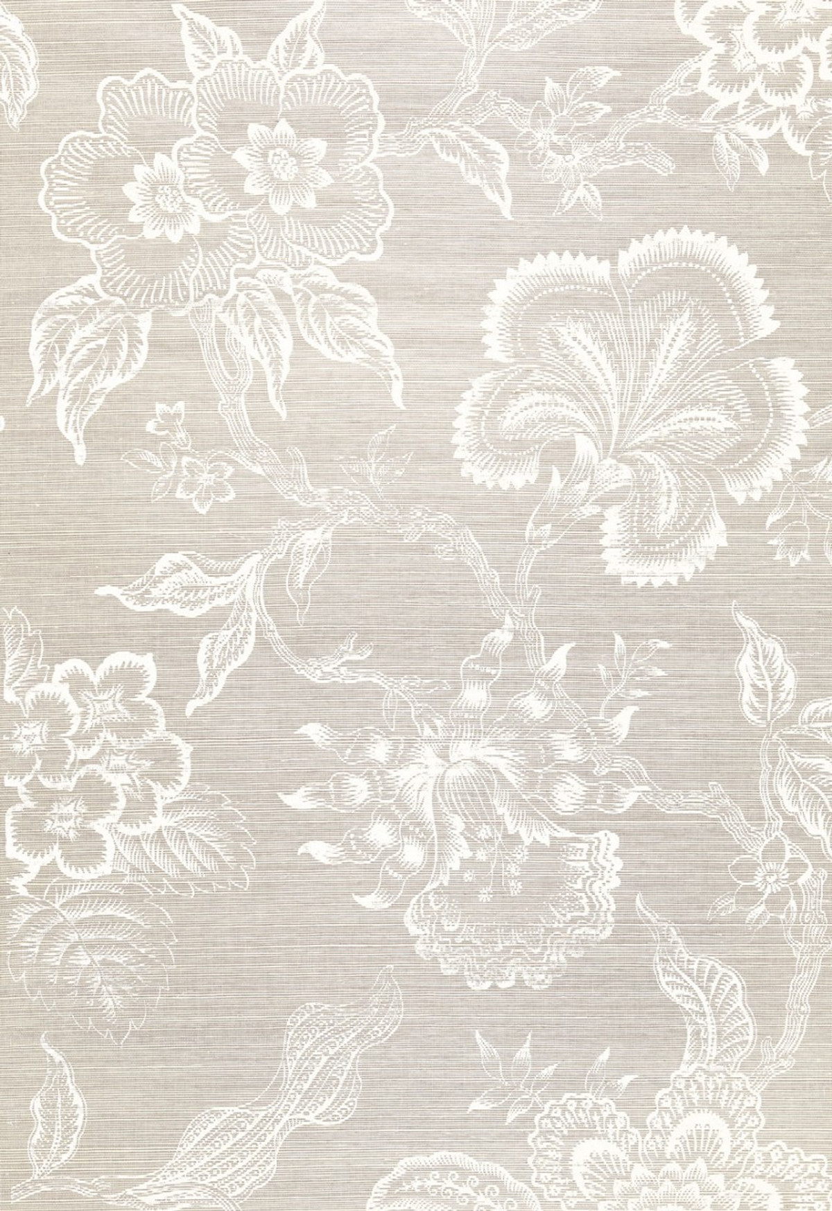 Celerie Kemble For Schumacher Hothouse Flowers Sisal Fog Chalk Wallpaper Sold Priced By