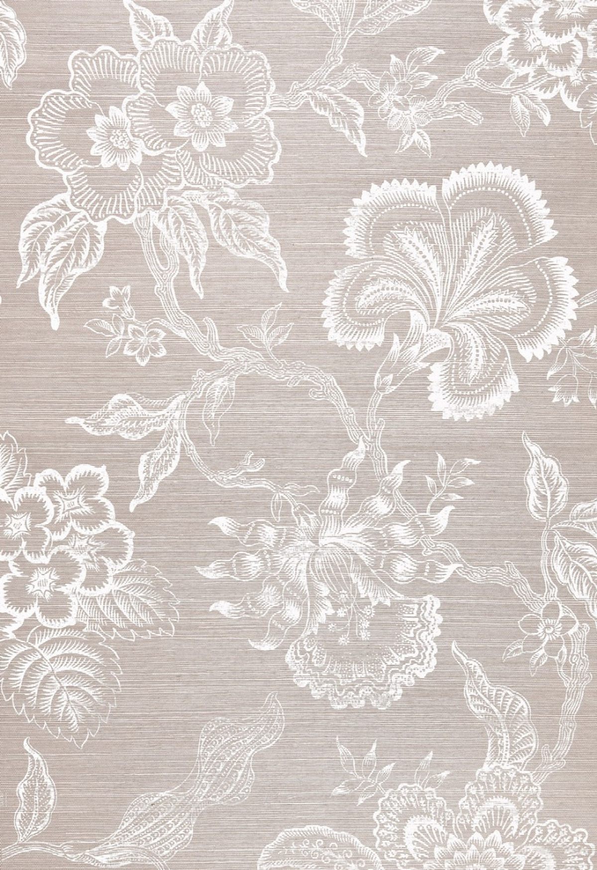 Celerie Kemble For Schumacher Hothouse Flowers Sisal Haze Chalk Wallpaper Sold Priced By