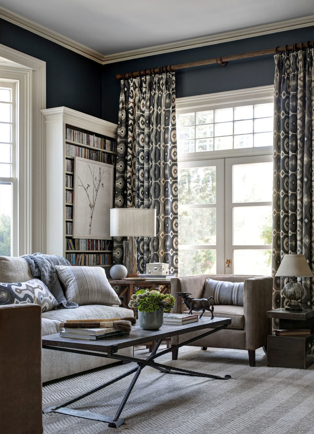 Living Room Drapes on Large French Doors