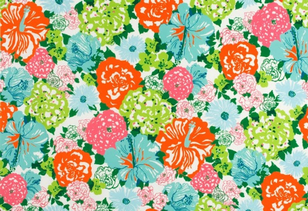 Lilly Pulitzer Heritage Floral II Aqua Orange Indoor Outdoor Fabric