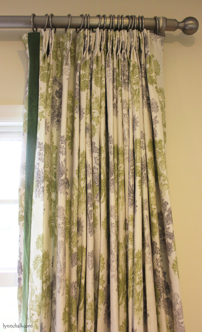 Custom Drapes in John Robshaw Pushpa in Moss with Velvet Trim on inside edge.