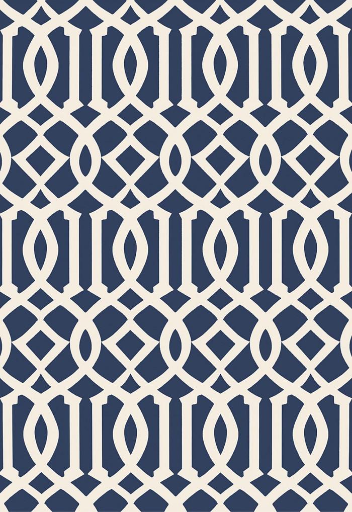 Schumacher Imperial Trellis II Ivory/Navy Wallpaper 5005801