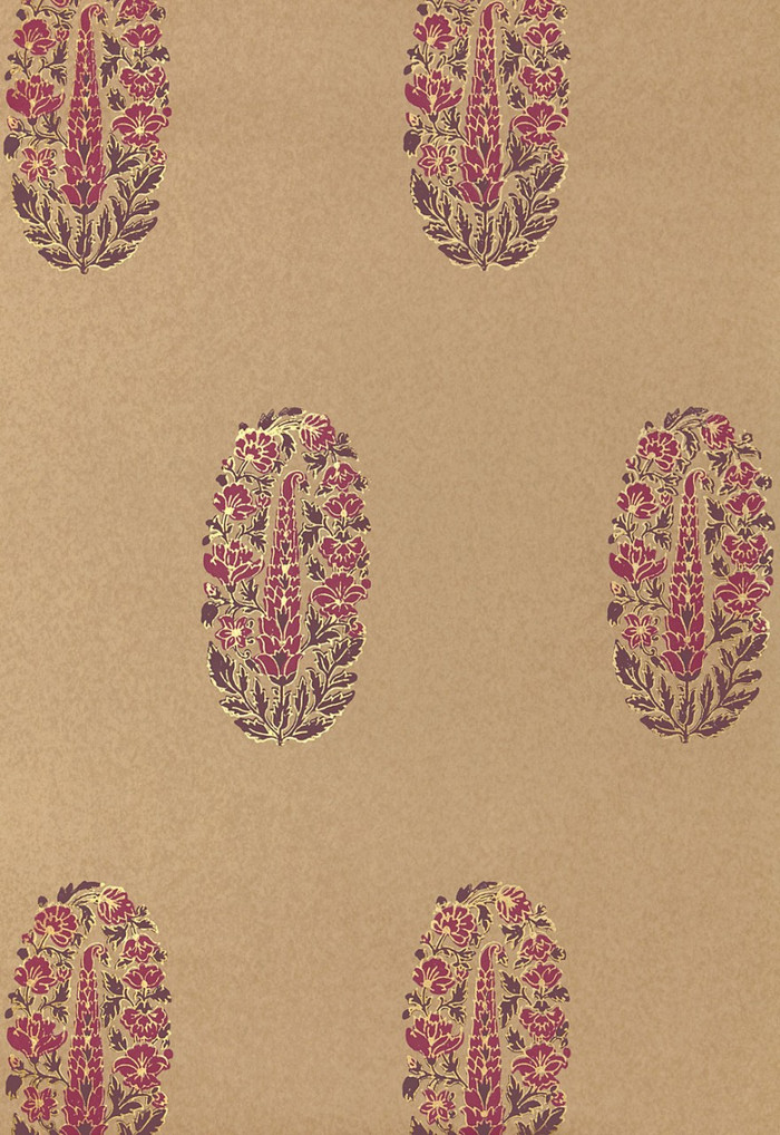 Schumacher Askandra Flower Aubergine Wallpaper 5005313