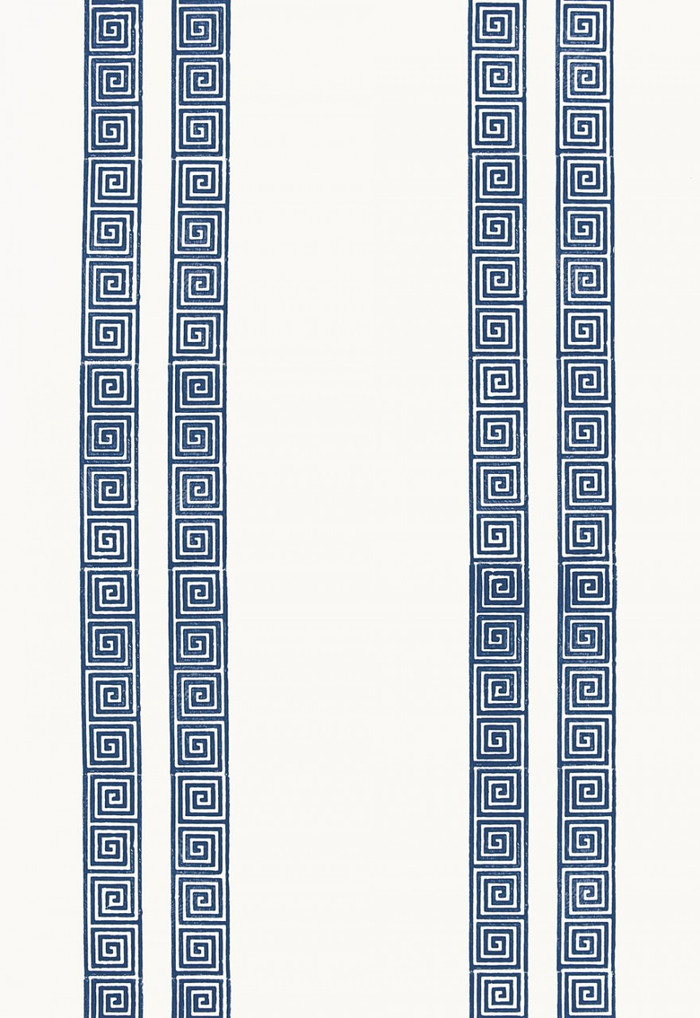 Schumacher Greek Key Stripe Wallpaper Navy 5005361