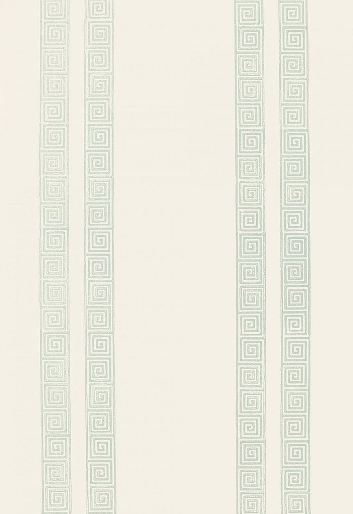Schumacher Greek Key Stripe Wallpaper Water Blue 5005362